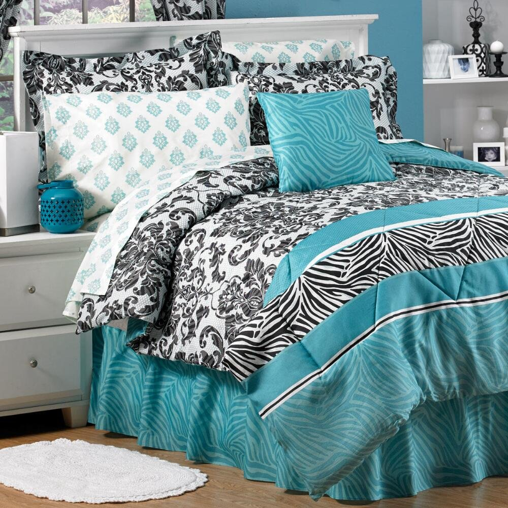 ROYAL Animal SAFARI Teal Zebra Stripe & French Damask Prints Comforter Shams Bedskirt & Sheet Set (8pc's KING SIZE Bed In A Bag)