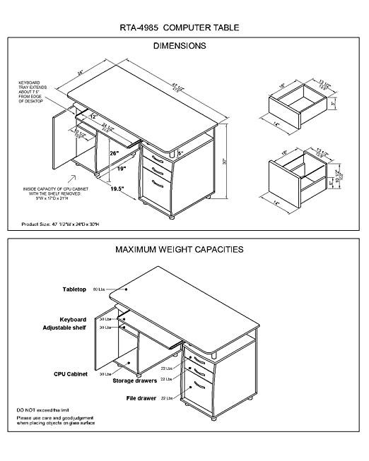 Amazon Com Techni Mobili Small Computer Desk In Grey Kitchen Dining