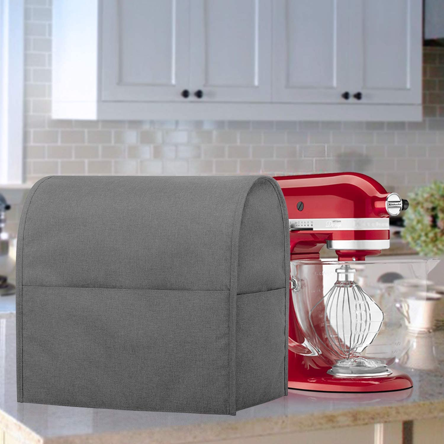 Cloth Cover with Pockets for KitchenAid Mixers and Extra Accessories Gray Small Luxja Dust Cover Compatible with 4.5-Quart and 5-Quart KitchenAid Mixers