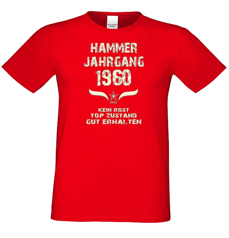 Männer T-Shirt Geschenkidee für Ihn Zum 58. Geburtstag Hammer Jahrgang 1960  Farbe: Schwarz Blau Rot Grün Braun Auch in Übergrößen 3XL, 4XL, 5XL:  Amazon.de: ...