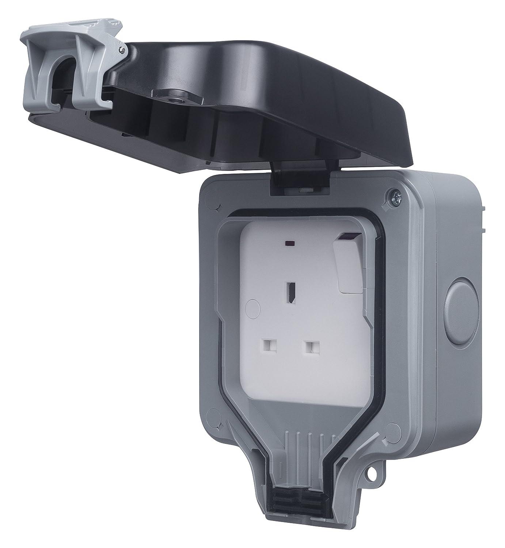 Masterplug WP21 13/A, bipolar, 1 interruptor, exteriores, IP66 Tomacorriente