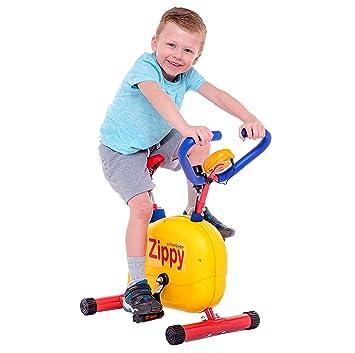 Nueva bicicleta Zippy divertida y fija para niños para casa. Equipo llamativo y colorido tipo
