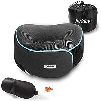 FORLAINE Almohada de Viaje Viscoelástica (Memory Foam) - Ajustable con Velcro - Soporte de 360 Grados para Cuello y…