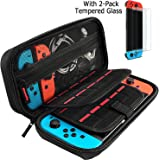 Hestia Goods case Compatible for Nintendo switch Hard Carry case and Tempered screen protector - 20 Game Cartridge Travel carry case, with 2-pack Bubble Free Glass screen protector for Nintendo Switch