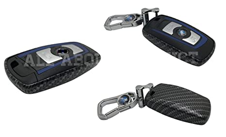 ALL ABOUT PRODUCT Car Remote Key Fob Case Holder Cover For BMW 1 3 5 7 Series X3 X 4 (CARBON FIBER Style)