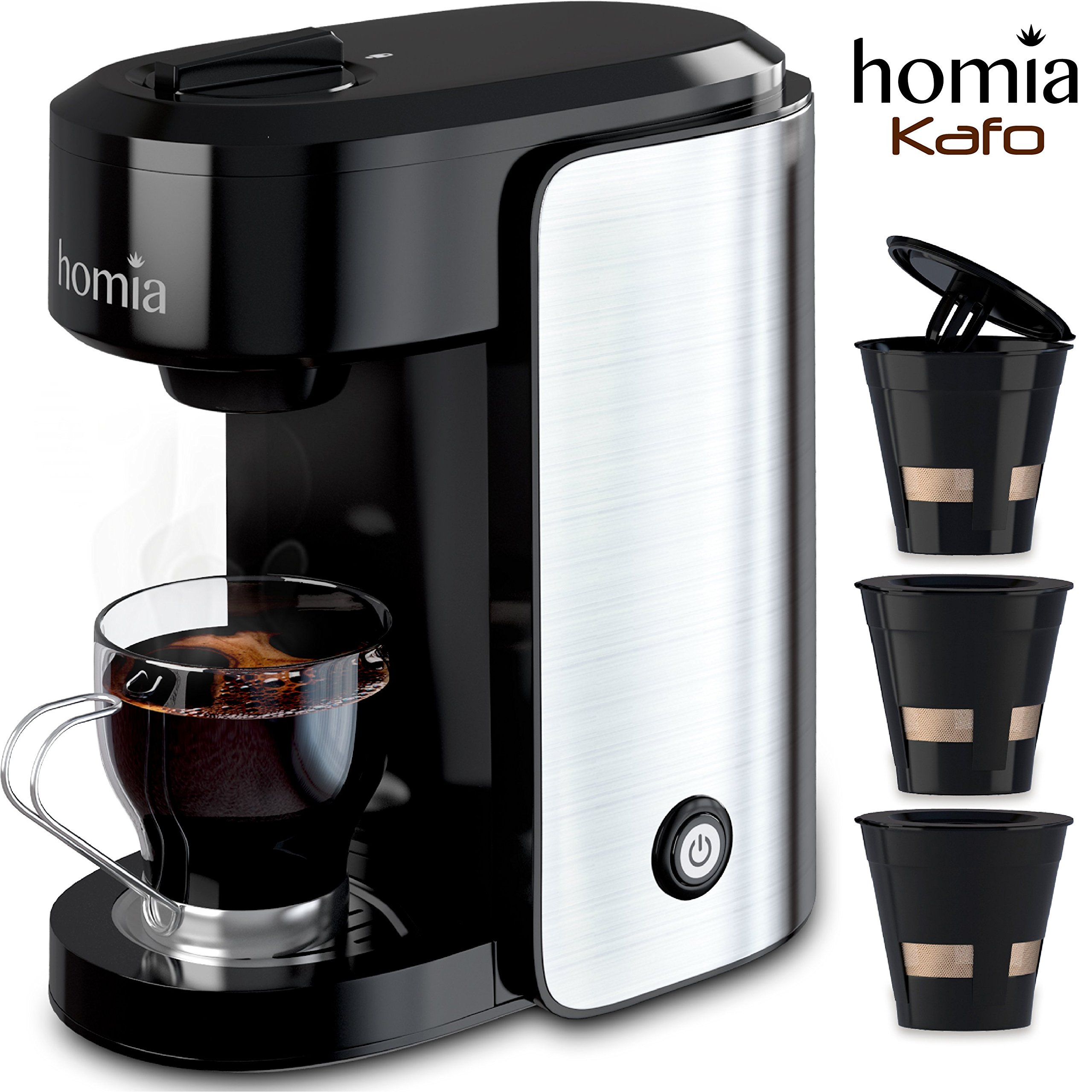 Coffee Maker Machine Single Serve - Electric Brewer for Ground Coffee, K-cup Сompatible, 10 oz (300 ml), 1000W, 3.5 bar Pump, with Reusable Capsules and Automatic Shut-Off, Stainless Steel + Black by homia