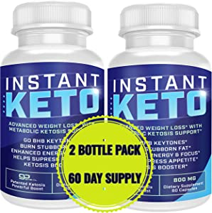 Instant Keto - Advanced Weight Loss with Metabolic Ketosis Support - 800MG - 120 Pills - 60 Day Supply