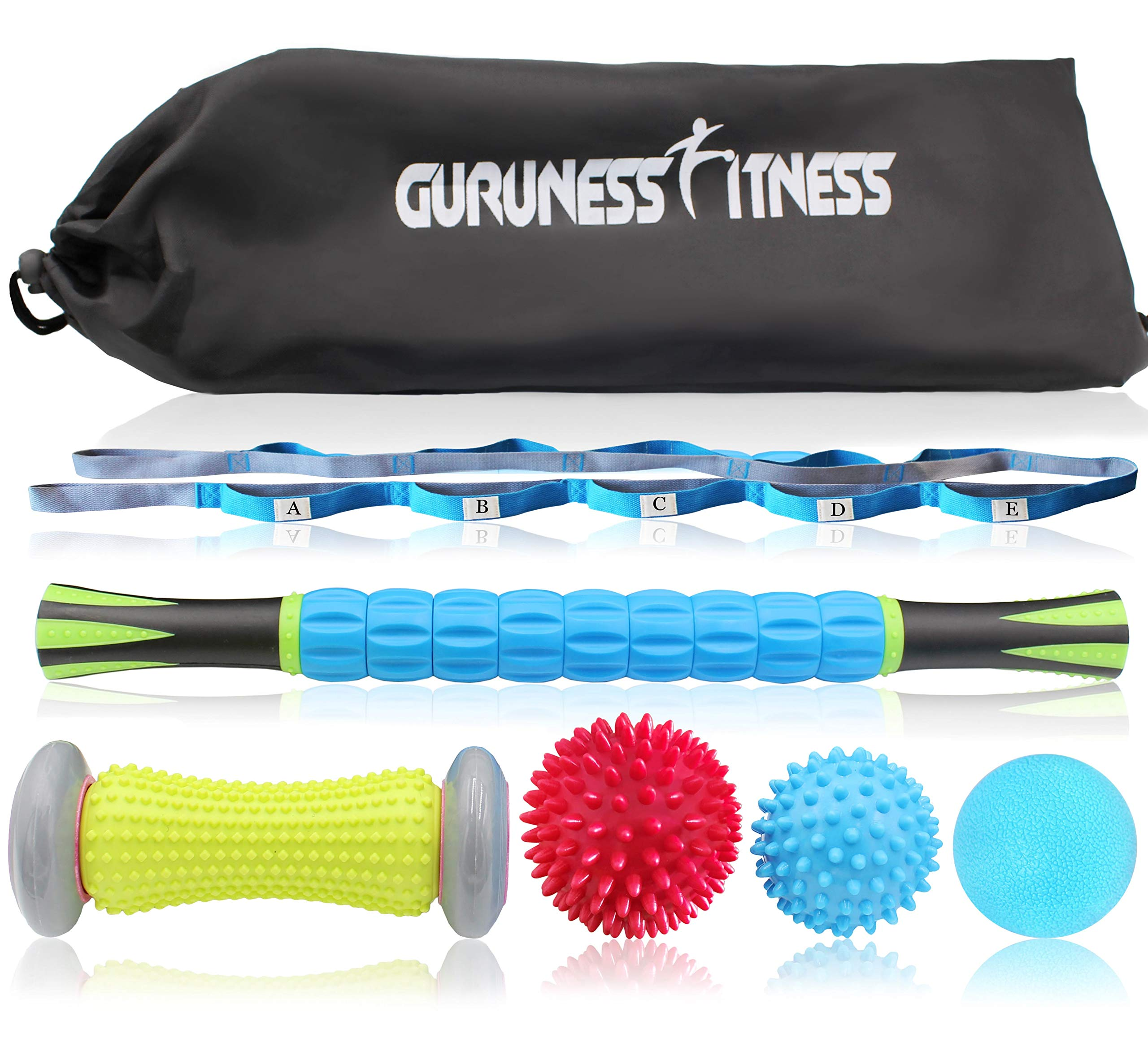 Massage Ball Set & Muscle Roller Massager for Deep Tissue Trigger, Pain Relief, Plantar Fasciitis Foot Recovery - 1 Stretch Strap, 1 Roller Stick, 1 Massage Roller, 2 Spiky Balls & 1 Lacrosse Ball