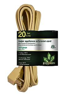 GoGreen Power GG-25620 14/3 20' SPT A/C Extension Cord - Beige