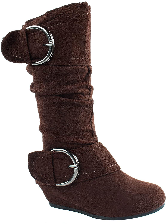 Link Little Girls Winner-56 Wedge Heels Boots with Buckle Closure