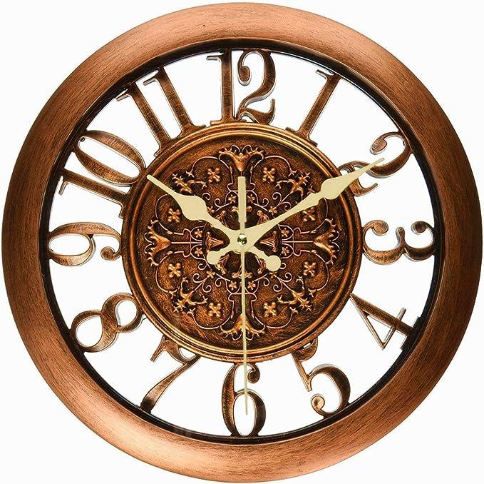 """10/"""" KitchenCraft Round Copper-Effect Kitchen Wall Clock 25.5 cm"""