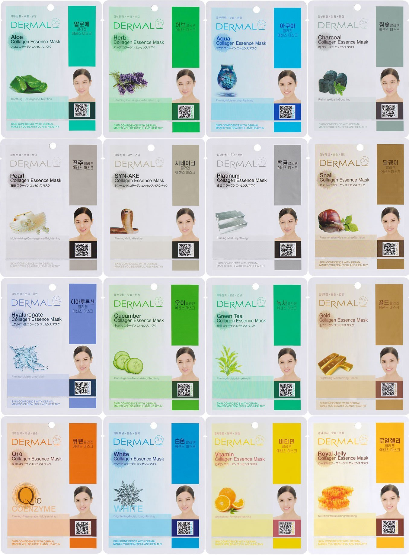 Dermal Korea Collagen Essence Full Face Facial Mask Sheet, 16 Combo Pack