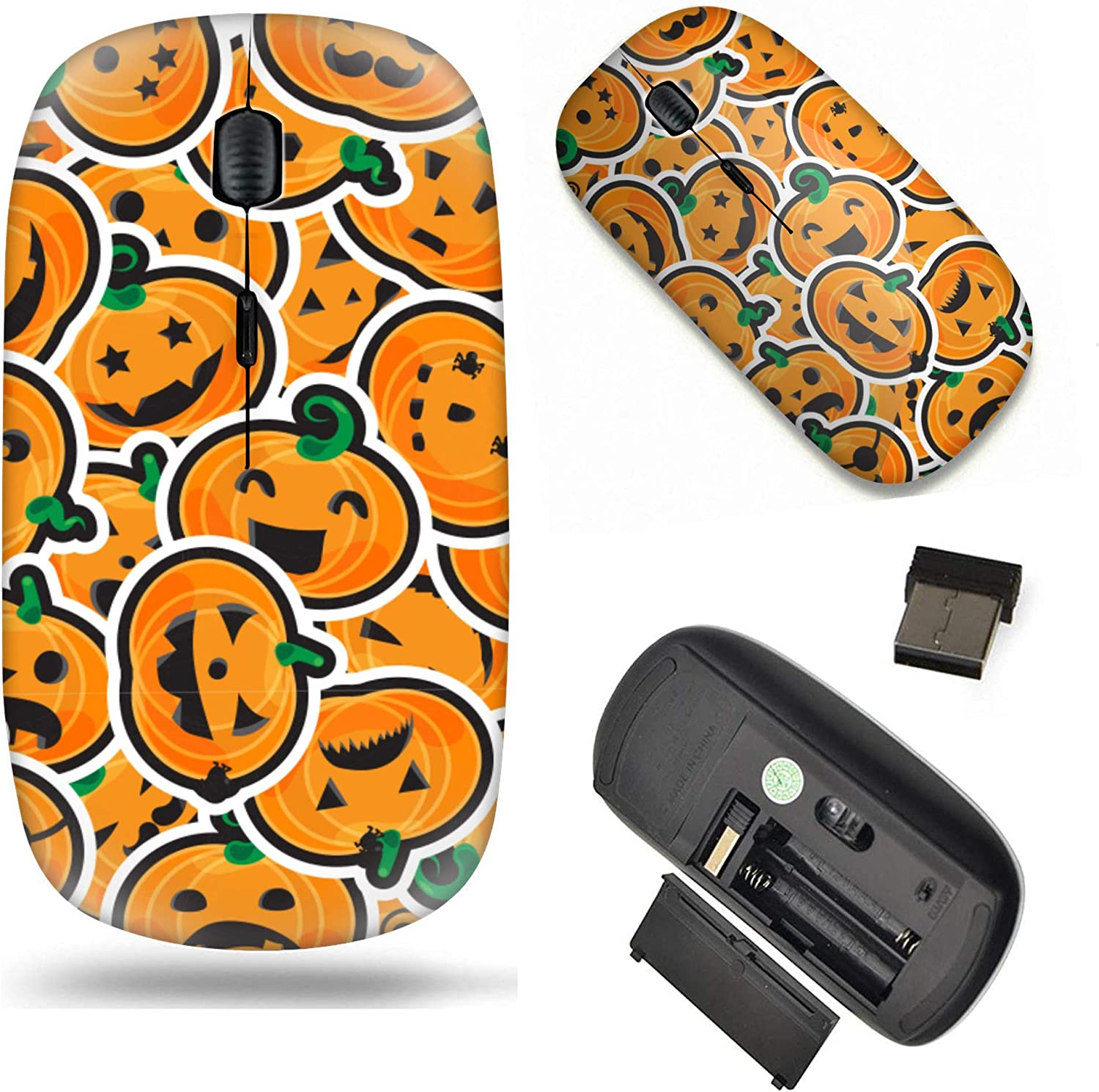 Unique Pattern Optical Mice Mobile Wireless Mouse 2.4G Portable for Notebook Laptop Computer PC Funny Halloween Pumpkin Doodle