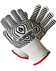 Grill Armor 932°F Extreme Heat Resistant Oven Gloves - EN407 Certified BBQ Gloves For Cooking, Grilling, Baking - Extra Long Cuff