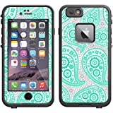 Skin Decal for LifeProof Apple iPhone 6 Case - Paisley Green and Flowers on White