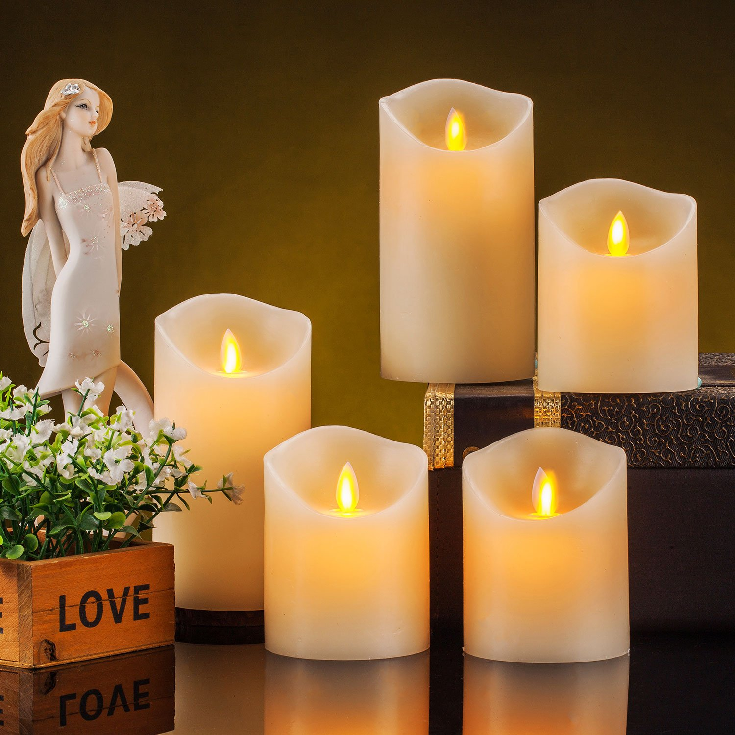 Pandaing Set Of 5 Realistic Moving Flame Real Wax