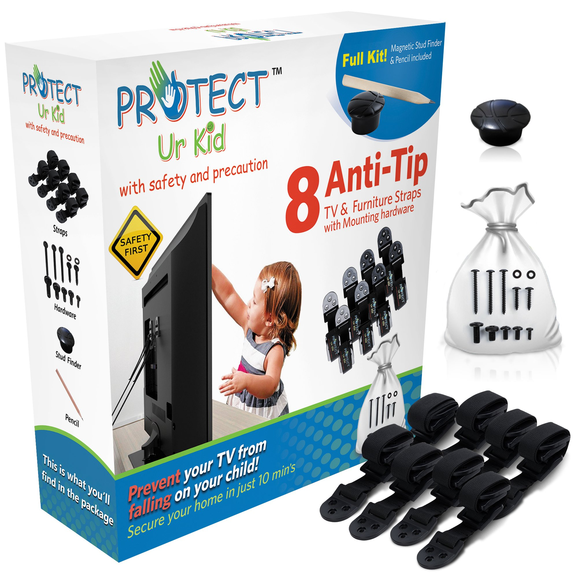 Flat Screen TV & Furniture Anti tip Safety Wall Anchor Straps, Earthquake Safe, Child & Baby Proof, with Magnetic Stud Finder & Mounting Hardware, by Protect Ur Kid (8 Pack)