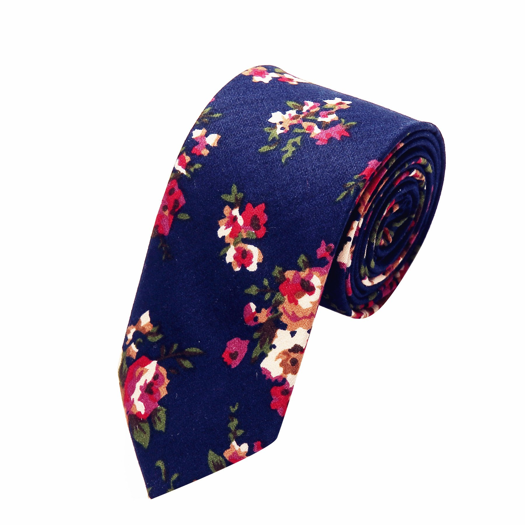 Ausky 4 Packs Cotton Floral Skinny Neckties for Men Boys in Different Flower (Floral B) by AUSKY (Image #3)