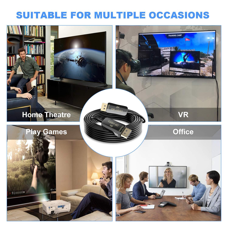 CableDeconn Fibre 8K 4K C/âble DisplayPort DP 1.4 8K@60Hz 4K@144Hz Haute Vitesse 32,4Gbit//s Fibre Optique Mince et Flexible C/âble DP /à DP de 20m 65ft