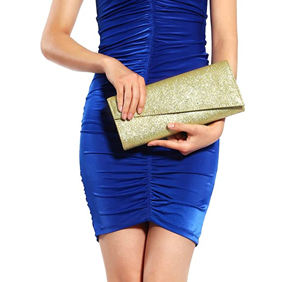 Womens Glitter Shimmer Bling Classy Handbag Evening Party Grab Clutch Bag Purse: Handbags: Amazon.com