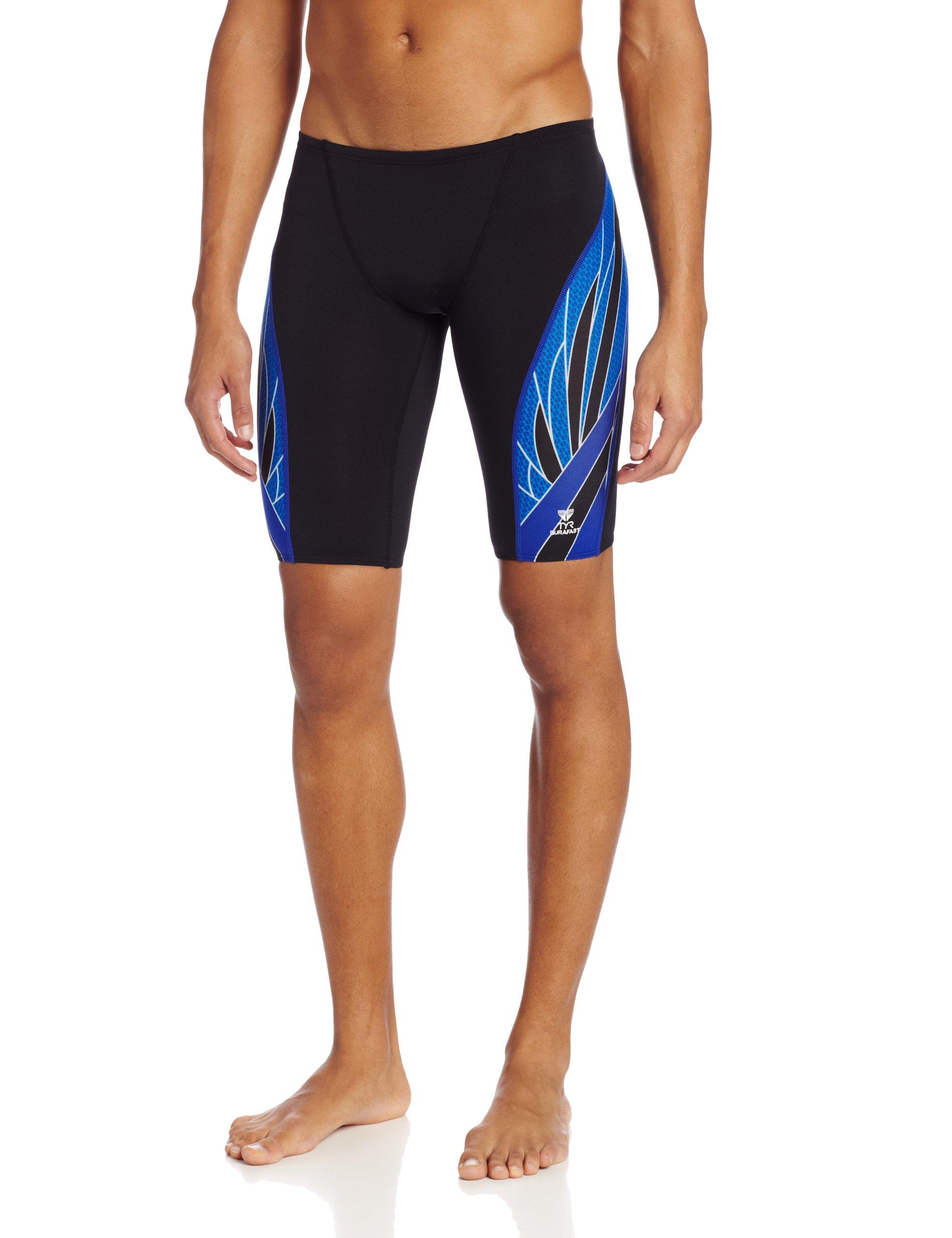 TYR SPORT Men's Phoenix Splice Jammer Swimsuit (Black/Blue, 32)
