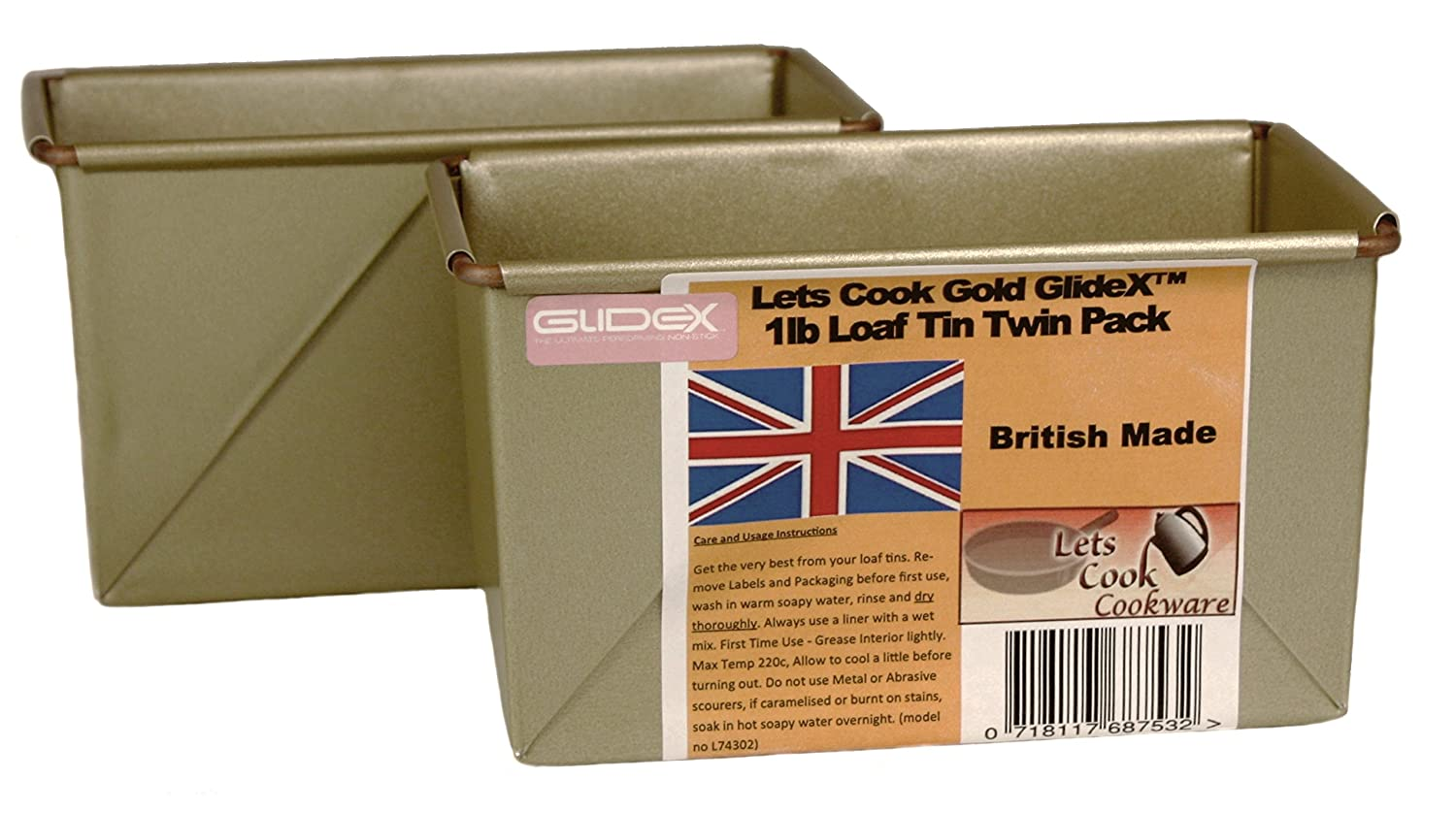 1LB Traditional Farmhouse Loaf Tins, Twin Pack, Box Style, Hand Made, British Made with Gold GlideX Non Stick by Lets Cook Cookware