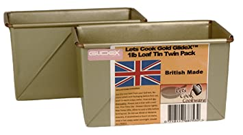 LETS Cook 1Lb tradicional Farmhouse Loaf Tins, doble cartucho, caja estilo, hecho a