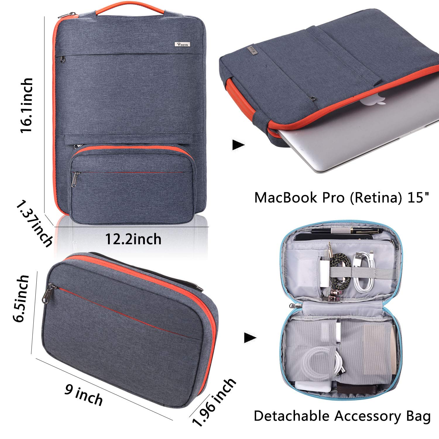 Voova 14-15.6 Inch Laptop Sleeve Bag Cover Special Design Waterproof Computer Protective Carry Case with Detachable Accessory Pocket Compatible with MacBook Pro Retina 15'', HP, Asus, Acer, Dark Gray by  Voova (Image #2)