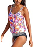 Sidefeel Beach Ethnic Print two Pieces Tankini Swimsuit With Basic Short