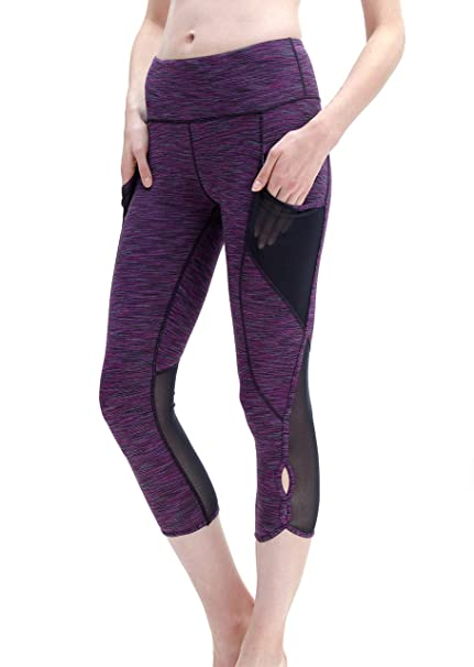 b9a4cba89e Queenie Ke Women 22 quot  Yoga Capris Power Flex Height Waist 3 Phone Pocket  Running Pants