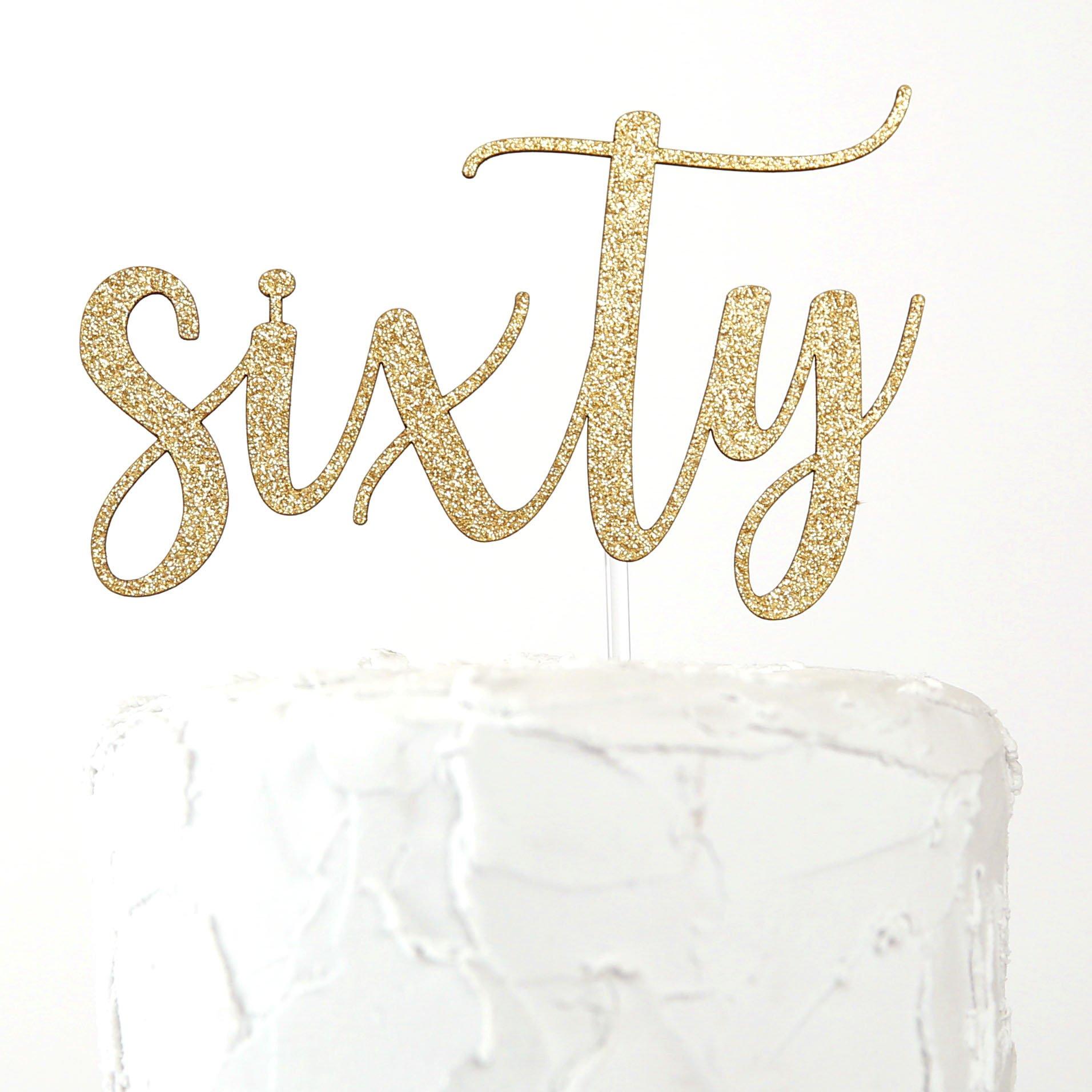 NANASUKO 60th Birthday Cake Topper - sixty - Premium quality Made in USA