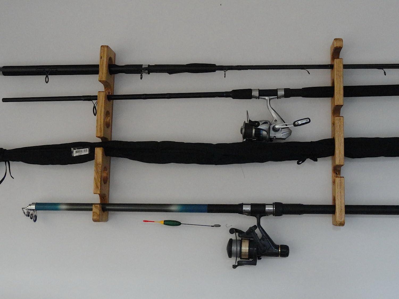Pared mont/ó FishingRack.eu Poseedor de la Ca/ña de Pescar de Madera//Estante