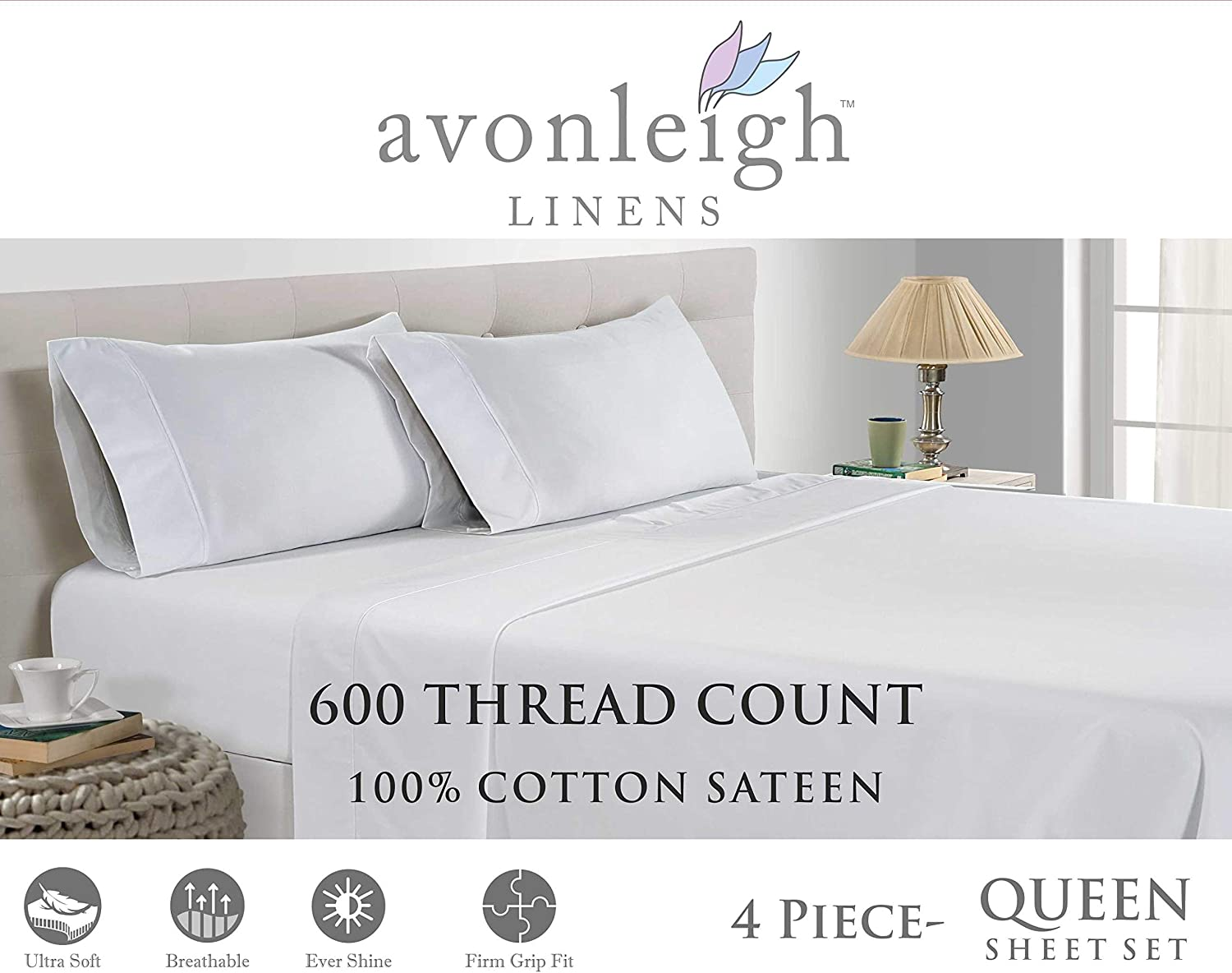 Ultrasoft Feathery Touch and Silky Sateen Weave 600 Thread Count 100/% Cotton Sheet-Cloud Blue-Cal King Sheet Set,4 Piece Long Staple Combed Cotton Sheet Set Fits Mattress Upto 18 Inches Deep Pocket