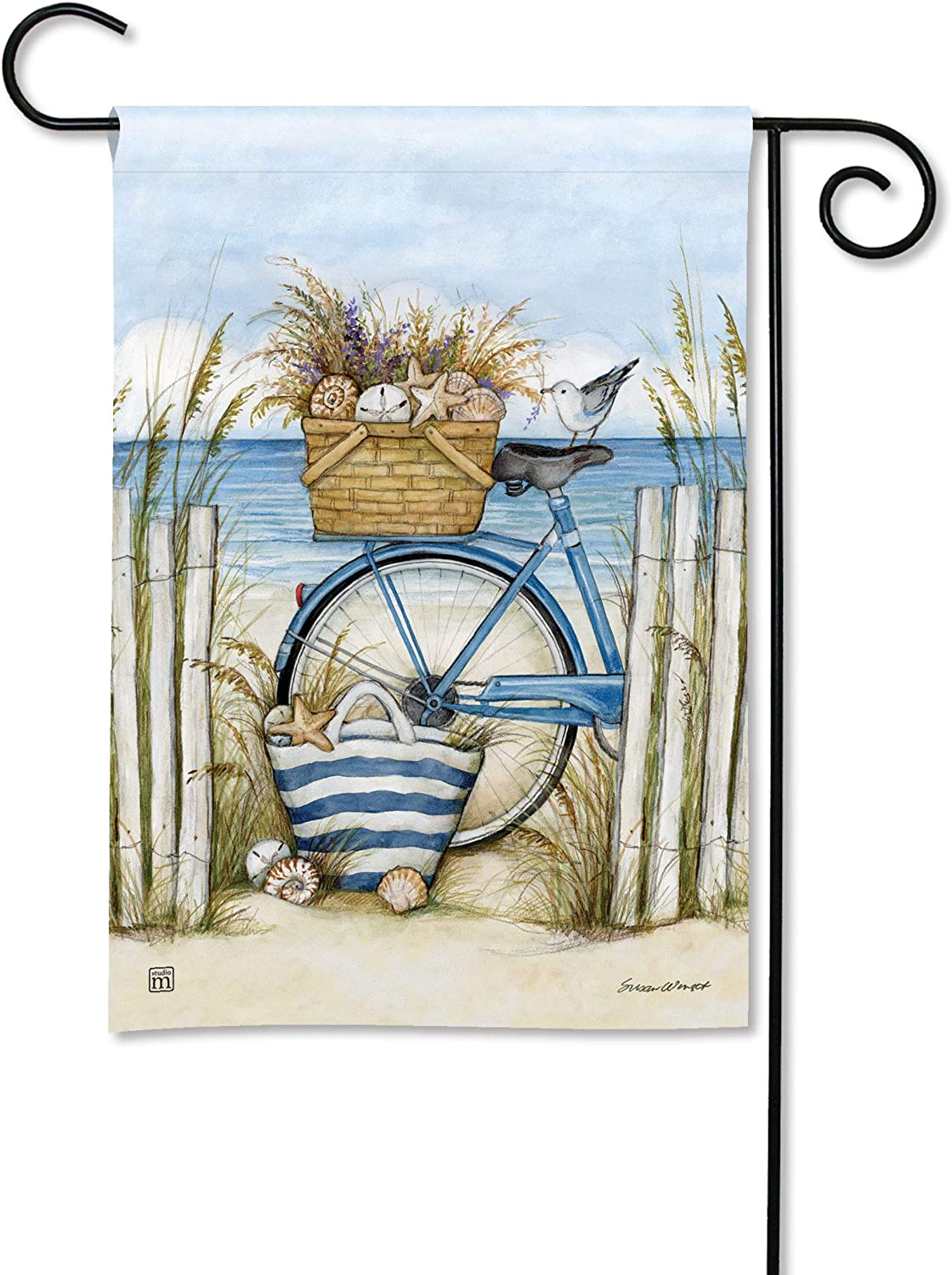 BreezeArt Studio M Beach Bike Decorative Garden Flag – Premium Quality, 12.5 x 18 Inches