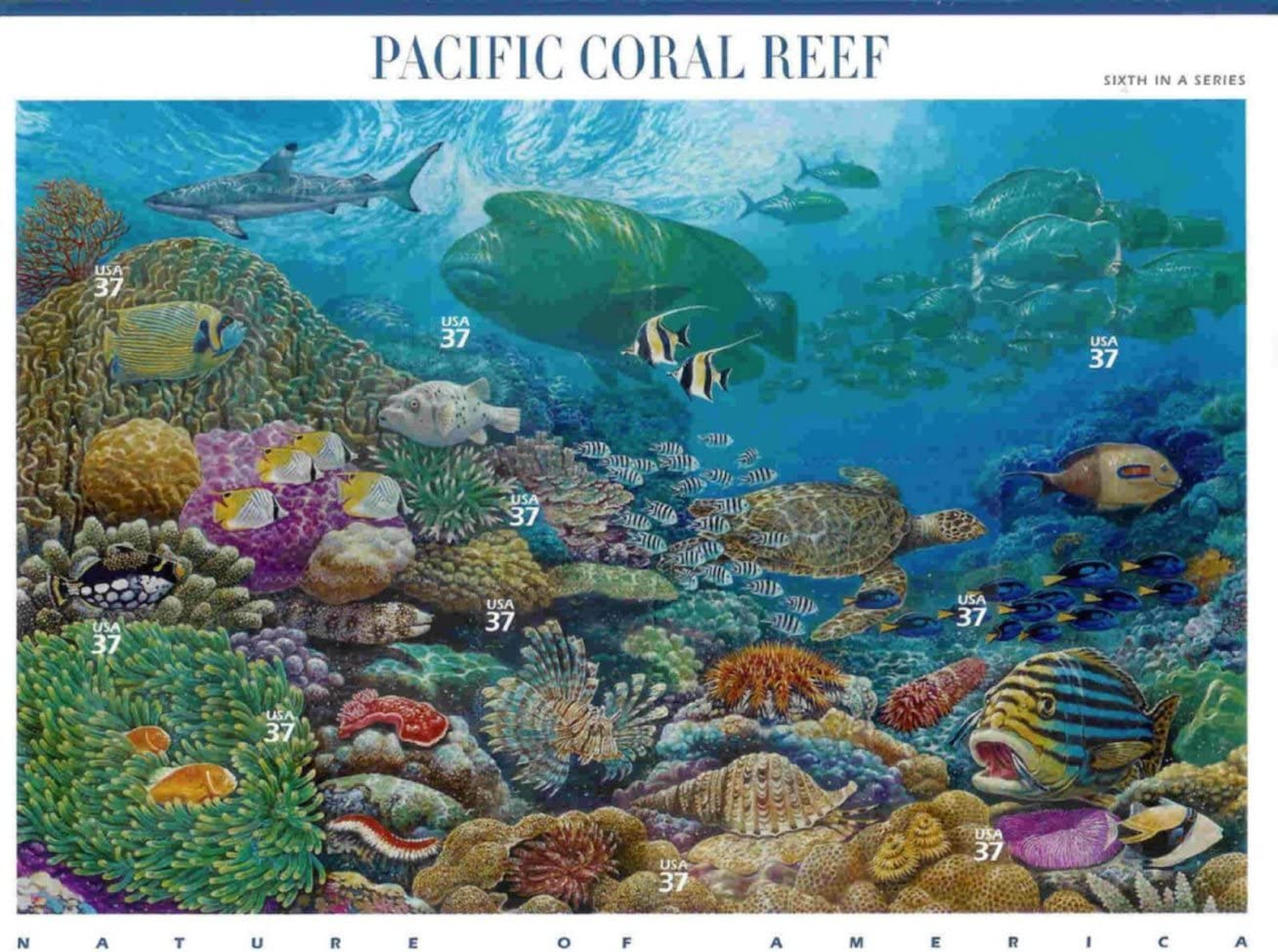 Pacific Coral Reef (Nature of America), Full Sheet of 10 x 37-Cent Postage Stamps, USA 2004, Scott 3831