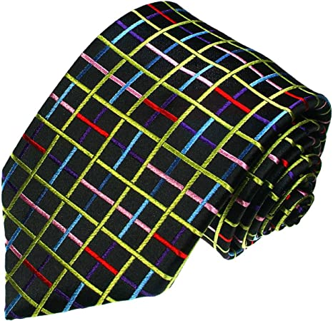 LORENZO CANA – Cuadros marcas corbata de seda 100% – Negro Rojo ...