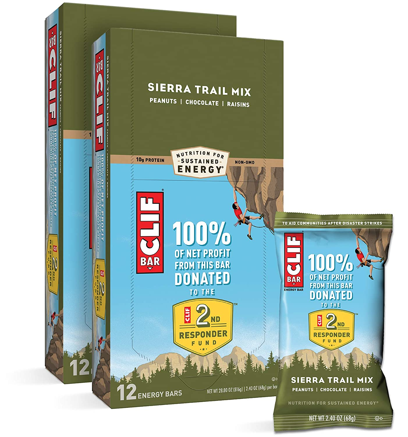 CLIF BARS - Energy Bars - Sierra Trail Mix - Made with Organic Oats - Plant Based Food - Vegetarian - Kosher (2.4 Ounce Protein Bars, 24 Count)