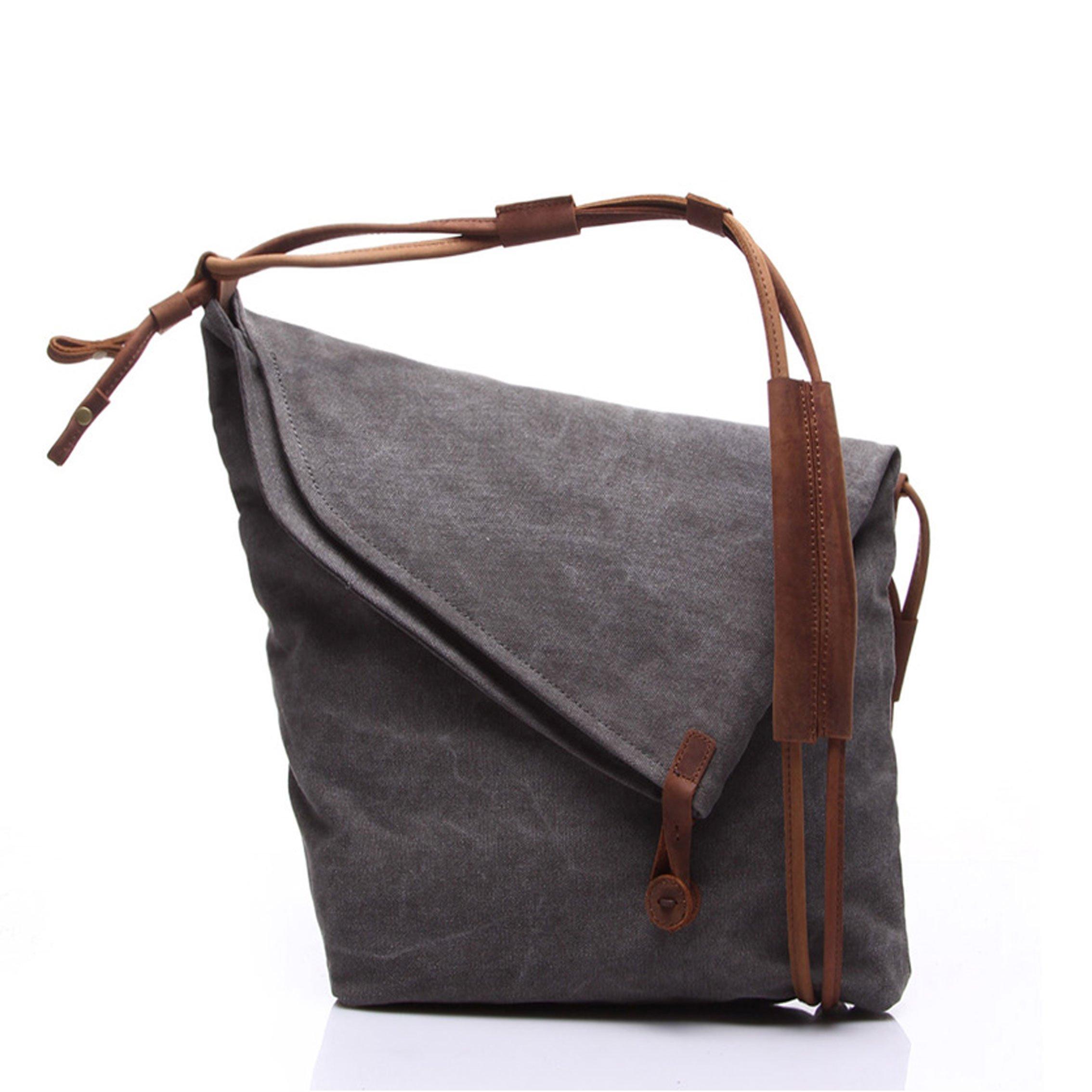 Vere Gloria Purse Canvas Messenger Bag Crossbody Shoulder Hobo Handbags for Women and men (Gray)