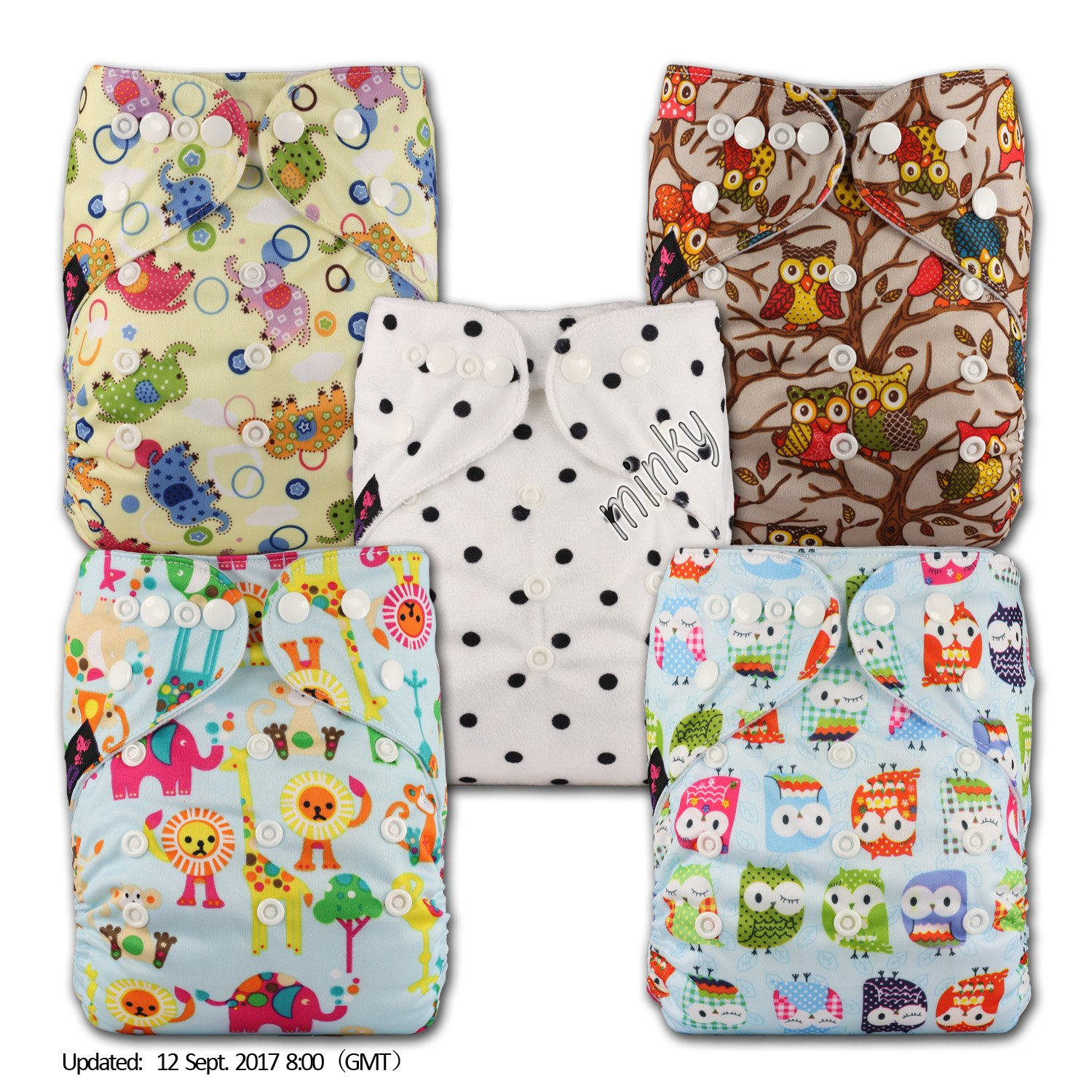 Fastener: Popper Reusable Pocket Cloth Nappy Littles /& Bloomz Set of 5 with 5 Microfibre Inserts Patterns 505