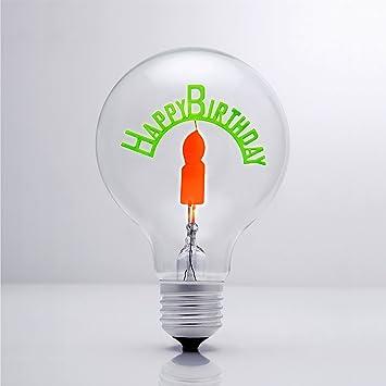 Darksteve Happy Birthday Vintage Light Bulb Edison Style G80 E26 Screw Filament Decorative