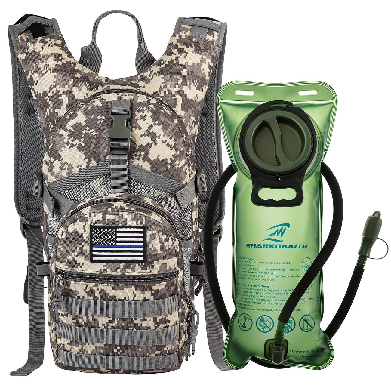 SHARKMOUTH Tactical MOLLE Hydration Pack Backpack 900D with 2L Leak-Proof Water Bladder, Keep Liquids Cool for Up to 4 Hours, Outdoor Daypack for Hiking, Running, USA Flag Patch, Camo by SHARKMOUTH