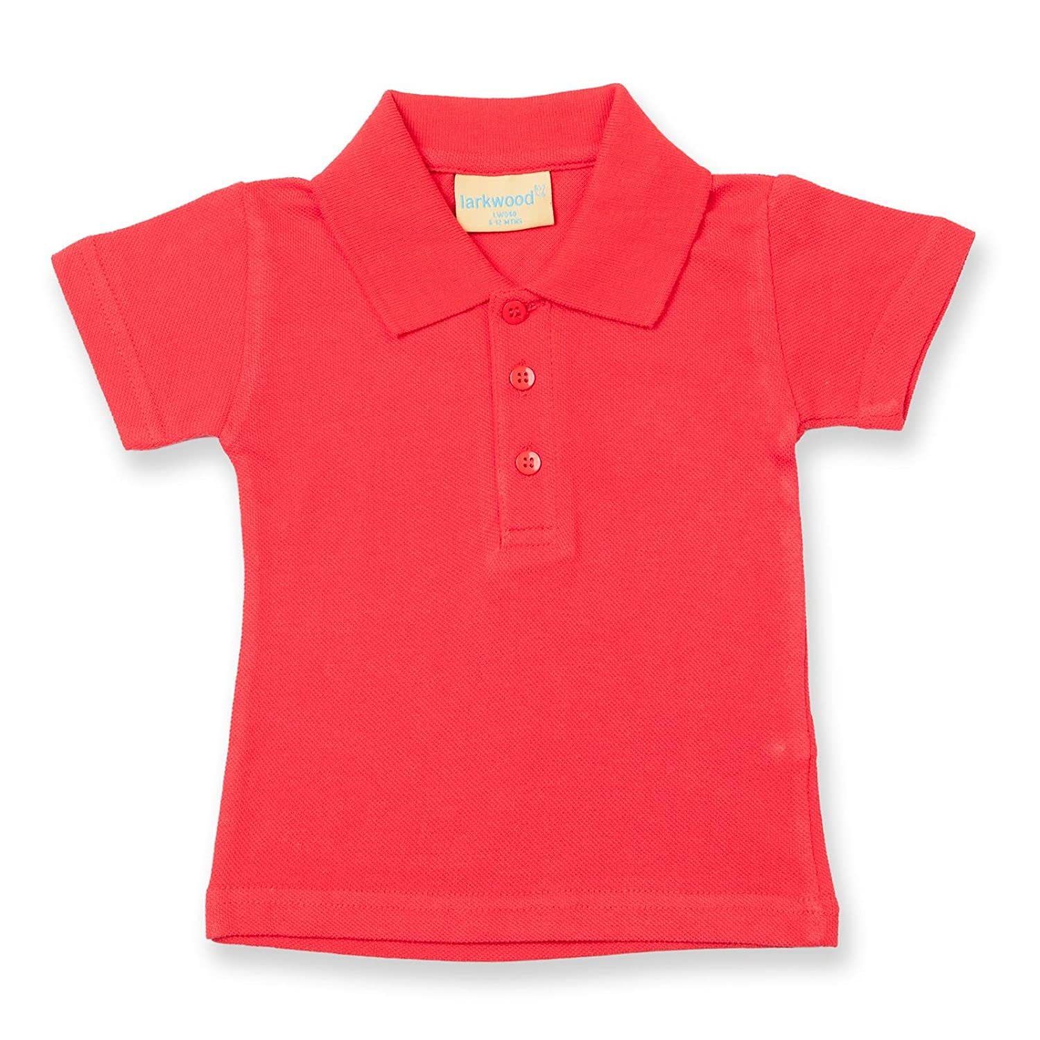 Larkwood Baby Infants Button Placket Flat Knit Polo Shirts 0-36 Months