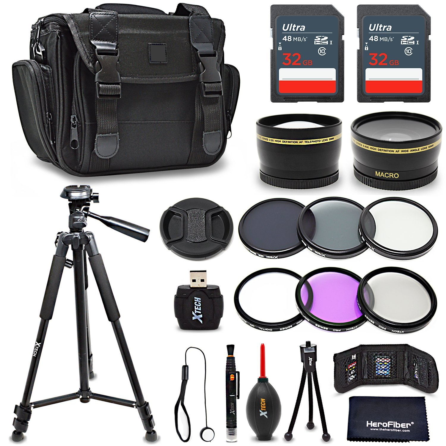 Premium 52mm Accessories Bundle Kit for DSLR Cameras - Includes 64GB Memory Card, 52mm 2x Telephoto Lens, 52mm Wide Angle Lens, Premium Camera Case, 72 inch Tripod, 52mm ND Filters + More by HeroFiber
