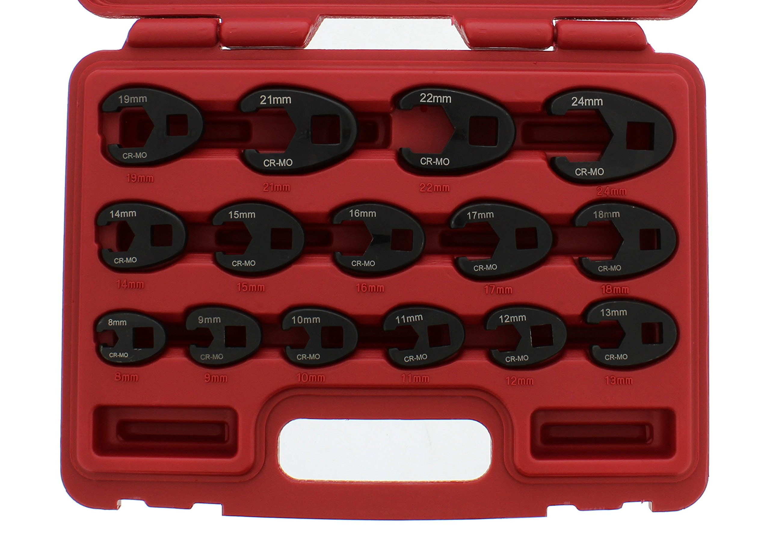 ABN Jumbo Crowfoot Flare Nut Wrench Set Metric 15-Piece Tool Kit for 3/8in and 1/2in Drive Ratchet by ABN