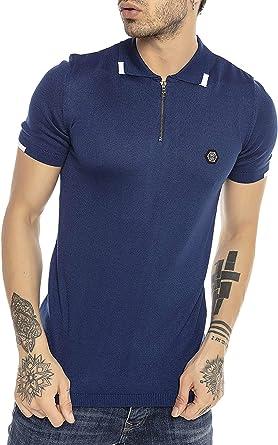 Camiseta Polo de Punto de Manga Corta y Cuello Plegable para Hombre