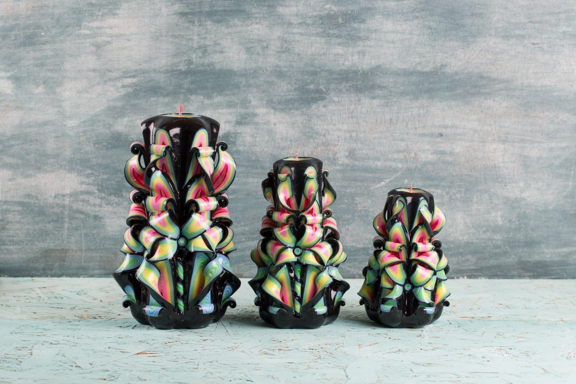 Candle set - Black Brazilia - Decorative carved candle - EveCandles