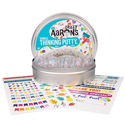 "Crazy Aaron's Thinking Putty 4"" Tin Gift Set - Celebrate! Glitter in Clear Putty, Includes Customizable Greeting Card and Stickers - Soft Texture, Non-Toxic, Never Dries Out: Toys & Games"
