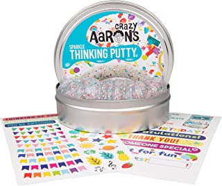 "product image for Crazy Aaron's Thinking Putty 4"" Tin Gift Set - Celebrate! Glitter in Clear Putty, Includes Customizable Greeting Card and Stickers - Soft Texture, Non-Toxic, Never Dries Out"