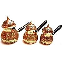 Engraved Turkish, Arabic coffee warmer 3 pieces set Brass