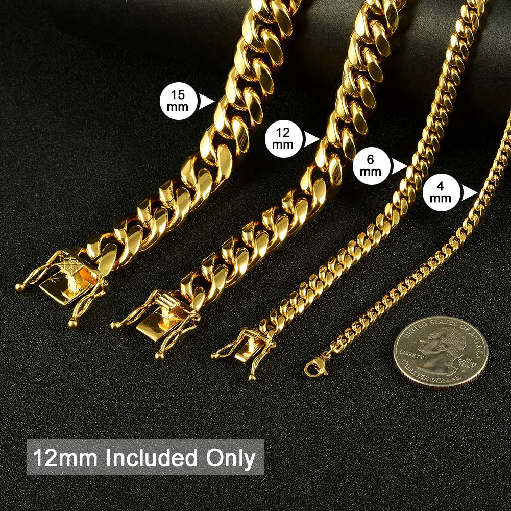Jewelry Kingdom 1 Necklace or Bracelet for Men and Women Chain Cuban Link Chain 18K Gold High Polished 316L Stainless Steel Chain 6MM//12MM Wide Chain, 7-30inches